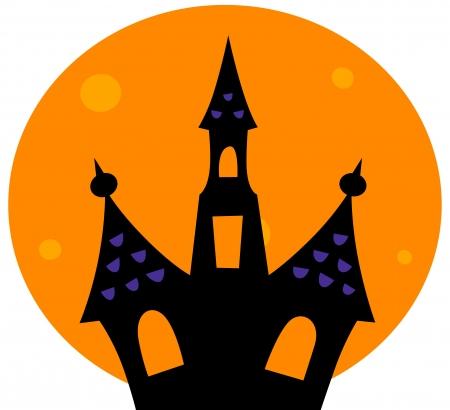 horror castle: Atormentado silueta casa. Vector ilustraci�n de dibujos animados