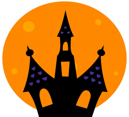 Haunted house silhouette. Vector cartoon Illustration Vector