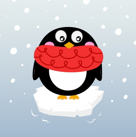 Cartoon winter penguin. Vector illustration Vector