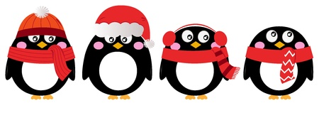 pinguino caricatura: Pingüino de la historieta navidad fijado. Vector Illustration