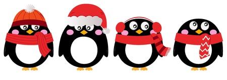 aves caricatura: Ping�ino de la historieta navidad fijado. Vector Illustration
