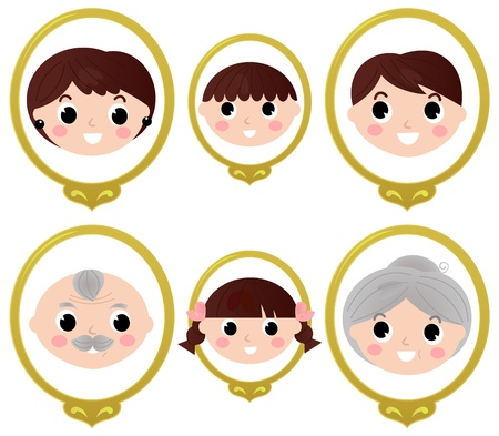 Two generation family old photos set. Vector cartoon
