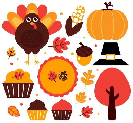 turkey thanksgiving: Art�culos Acci�n de Gracias establecido. Vector Illustration