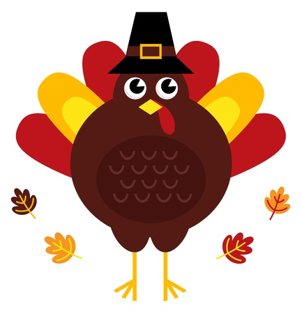 Stylized brown turkey with leaves behind. Vector illustration Vector