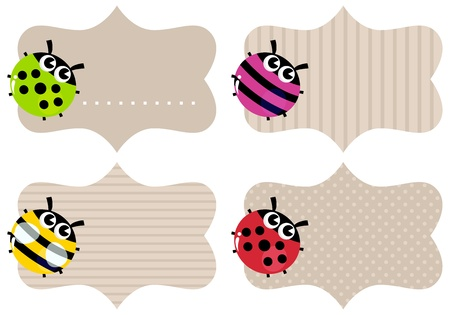 name day: Price or school tags with cute bugs. Vector Illustration