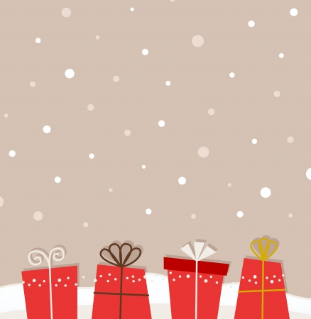 Retro xmas background with red gifts. Vector