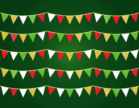 Christmas bunting for your party. Vector Illustration Vector
