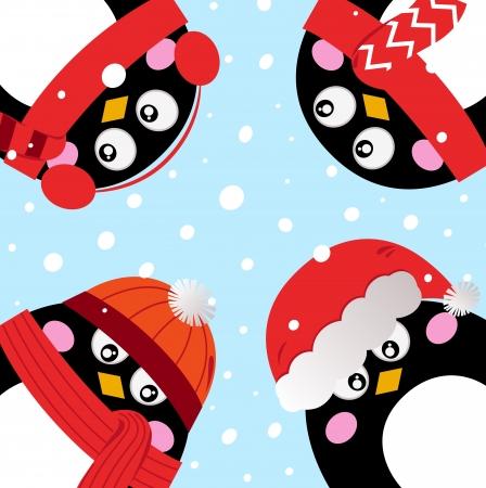 Cartoon penguins in circle. Vector cartoon Illustration Stock Vector - 16577633