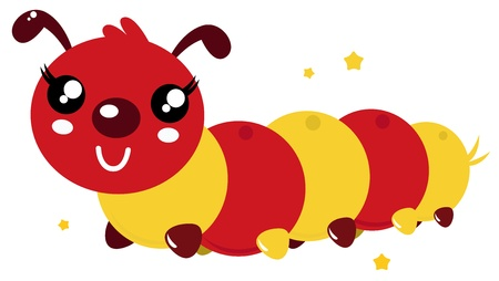 cartoon larva: Red an orange caterpillar. Vector cartoon illustration Illustration