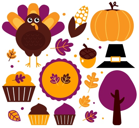 Thanksgiving items set - yellow and purple. Vector Illustration Vector