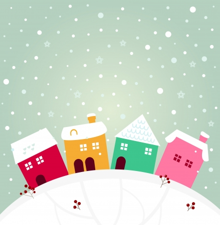 Cute christmas colorful houses. cartoon Vector