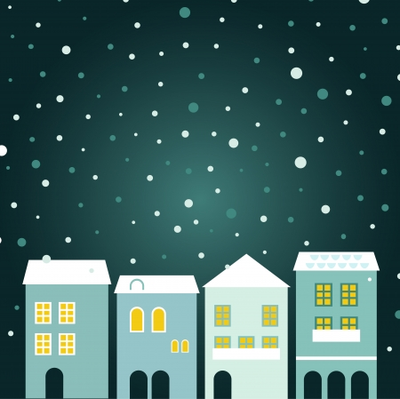 Simple stylized winter town. Illustration Vector