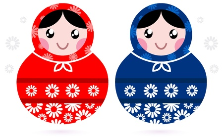 Russian beauty Matreshka doll set. cartoon Vector