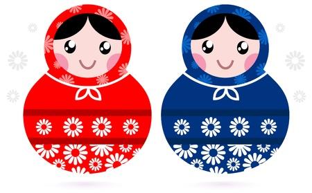 matriosca: Russian beauty Matreshka doll set. cartoon Illustration
