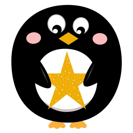 Penguin holding christmas yellow star. illustration Vector