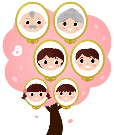 Genealogy tree with various family members. illustration Illustration