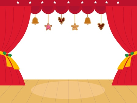 Decorated theatre christmas background.  Vector