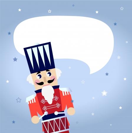 Retro red Nutcracker isolated on snowing background. Illustration Stock Illustratie