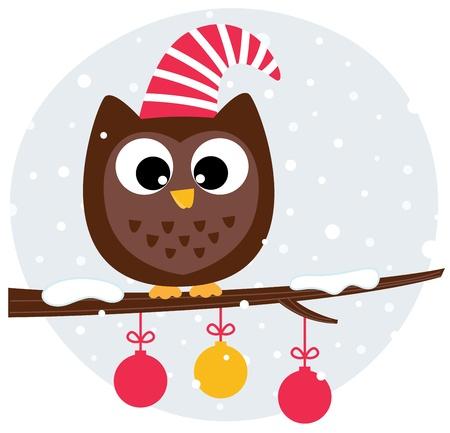 산타 모자: 산타 모자에 겨울 만화 올빼미. 삽화
