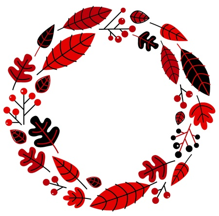 ashberry: Retro christmas wreath with leaves and ashberry. illustration