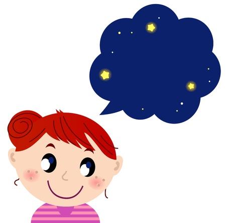 child looking up: Happy child with night dream.  cartoon Illustration Illustration