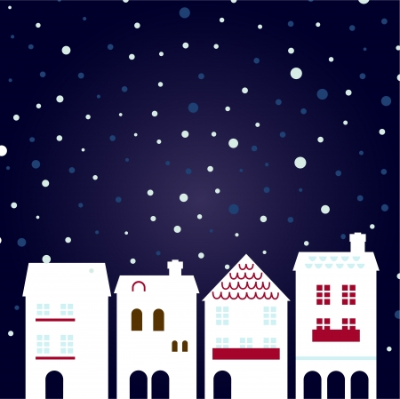 Cute christmas town. Stylized illustration  Vector