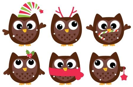 Funny christmas Owls.  cartoon Illustration