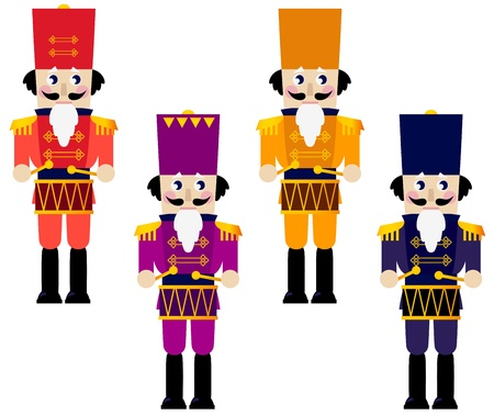 Tin soldiers with drum collection.  illustration