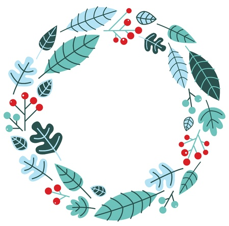 ashberry: Retro xmas wreath with leaves and ashberry.  illustration