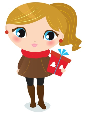 Little winter girl.  illustration Vector