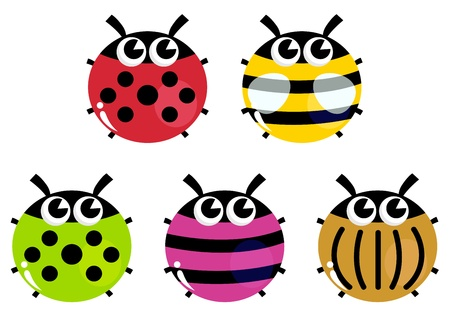 ladybug cartoon: Various bugs collection. Vector cartoon Illustration
