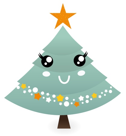 Stylized christmas tree character. Vector  Vector