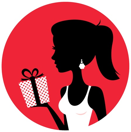 Young elegant woman with present. Vector Illustration Vector