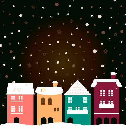 Retro christmas town. Vector Illustration