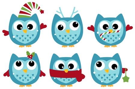 Various owl set. Vector cartoon illustration Illustration