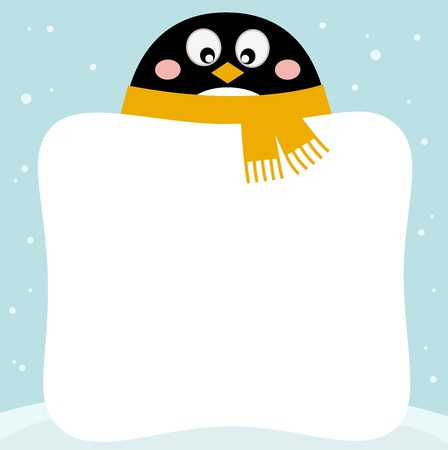 Winter penguin with blank banner. Vector illustration Stock Vector - 17349932