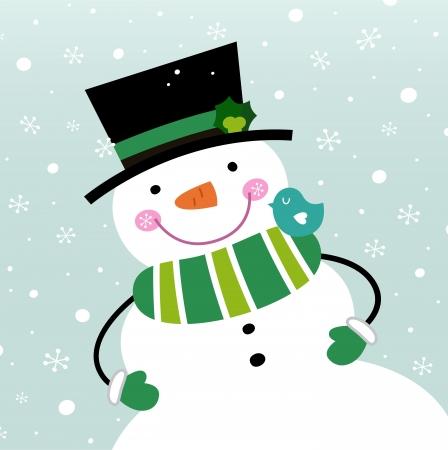 Boneco de neve verde feliz. Vetorial, caricatura, ilustração