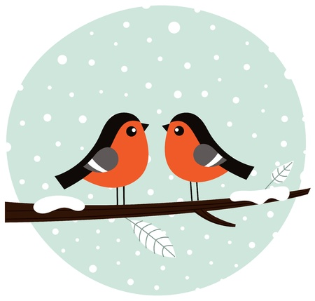 Cute winter birds. Vector cartoon Illustration Vector