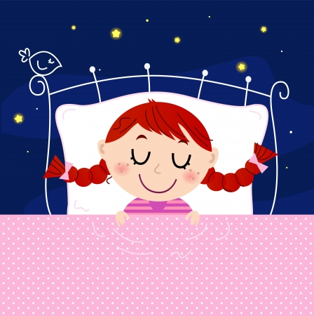 bedclothes: Sleeping sweet girl. Vector cartoon Illustration Illustration