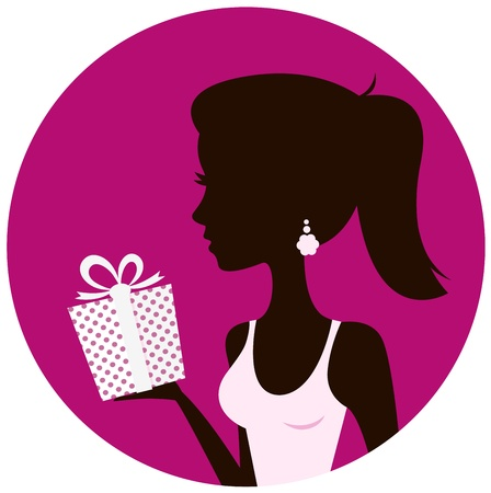 Female with gift silhouette. Retro vector Illustration Stock Vector - 17388869