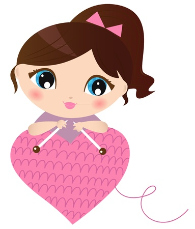cold day: Curte beautiful Woman with knitted pink heart. Vector Illustration