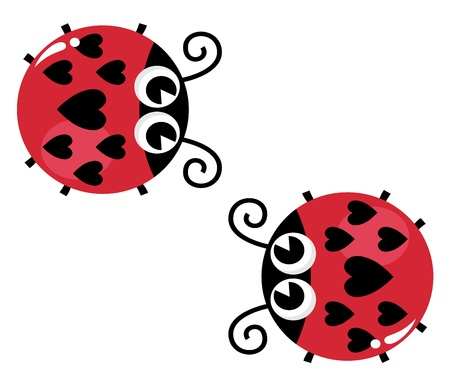 cartoon ladybug: Lady bugs with heart shaped spots. Vector