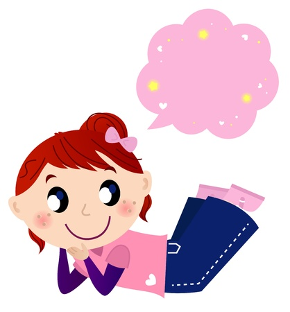 Illustration of pretty girl thinking on something. Vector Vector