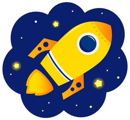 Yellow vector Rocket in space. Cartoon Illustration