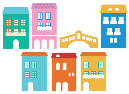 Vintage italian residential houses. Vector Illustration.  Vector