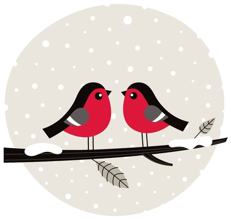 Cute birds on snowing background. Vector Illustration