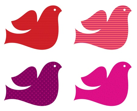 Stylized retro doves set. Stock Vector - 17560066