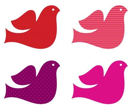 drawing dove: Stylized retro doves set. Illustration