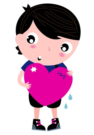 heart pain: Trendy Emo Boy with pink heart.