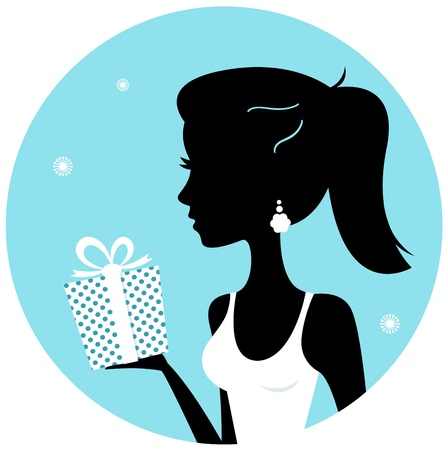 Winter young elegant woman with gift. Vector